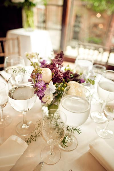 purple, white and green floral centerpiece