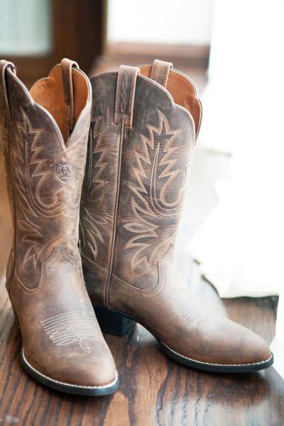 bride's cowboy boots