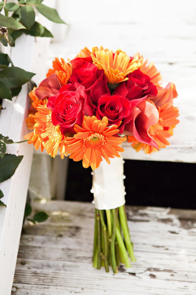 red rose and orange gerber daisy wedding bouquet