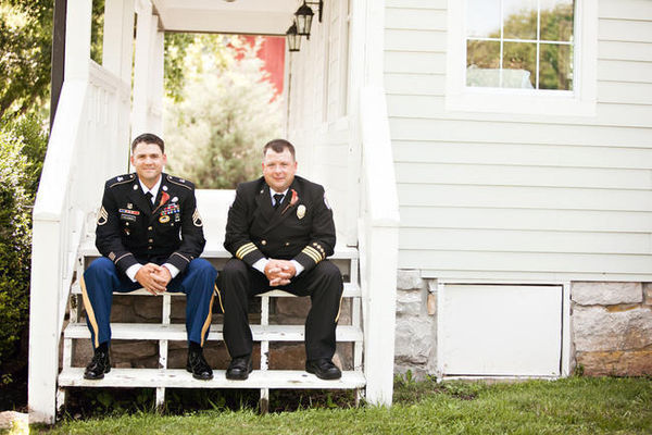 groom and best man in uniform
