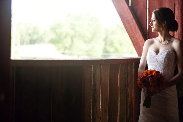bride portrait in barn