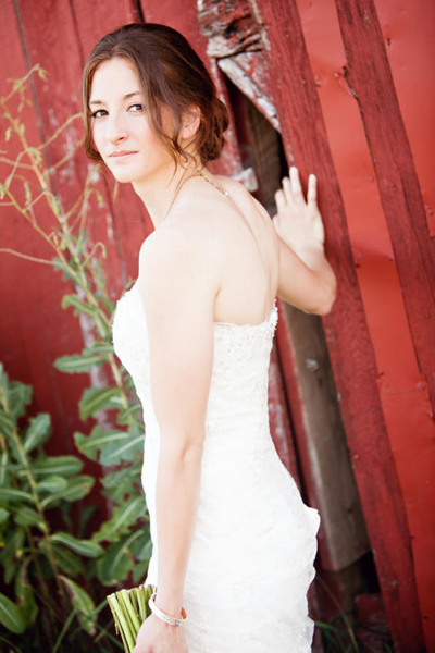 bride portrait outside barn