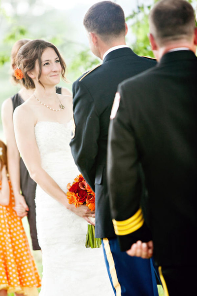 bride and groom at outdoor farm wedding ceremony