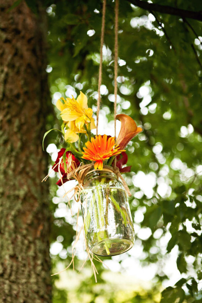 hanging mason jar flower arrangements