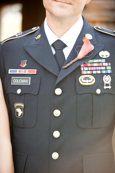 groom in military uniform