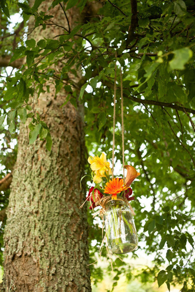 hanging mason jar flower arrangement