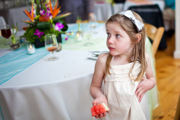 flower girl eating watermelon