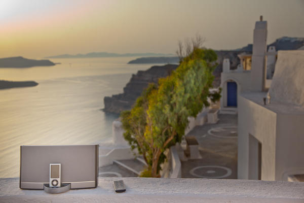 ipod dock on wall ledge in Santorini