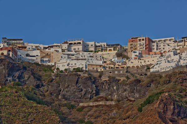 view of Santorini from below