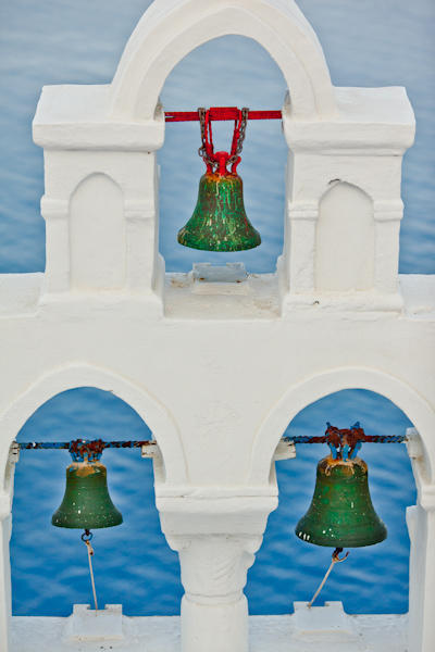 green bells in Santorini