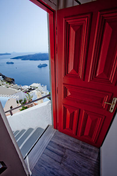 Red door in Santorini
