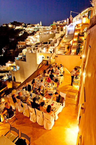 Outdoor Santorini wedding reception