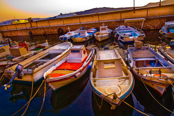 fishing boats in Santorini