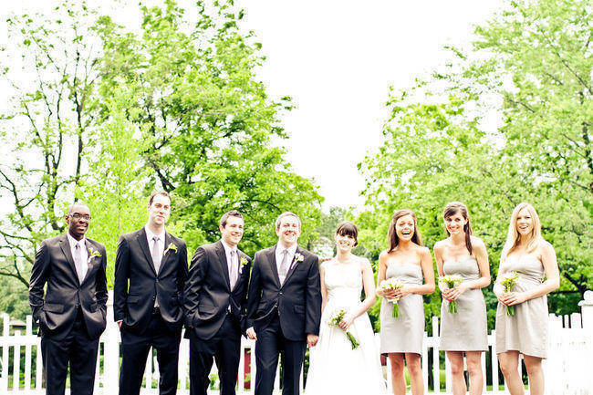 wedding party portrait on estate grounds