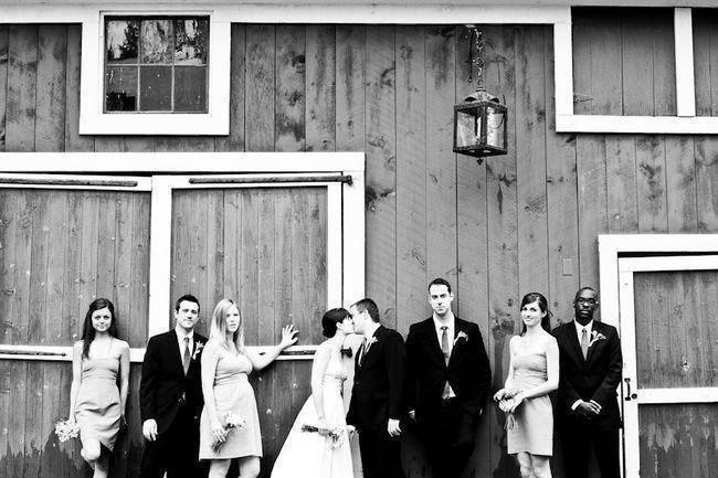 black and white bridal party portrait