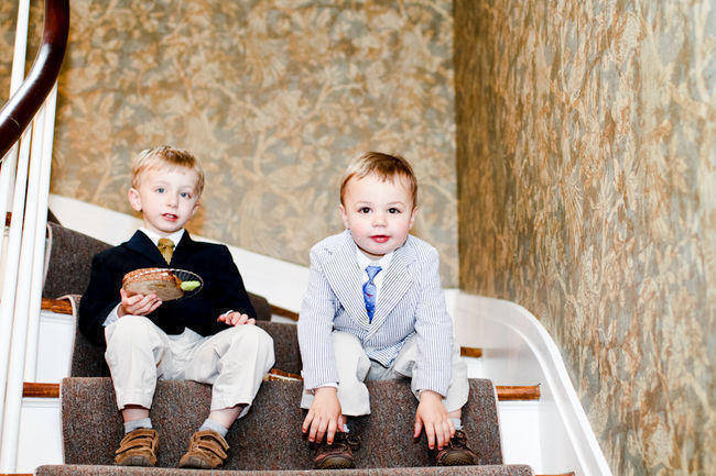 young wedding guests in suits