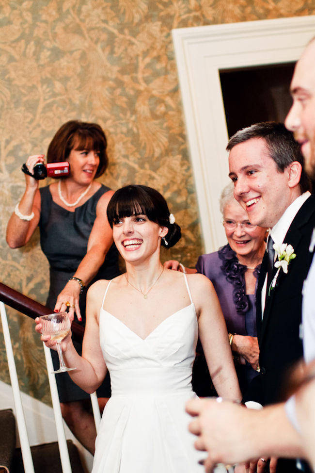 bride listening to wedding speech