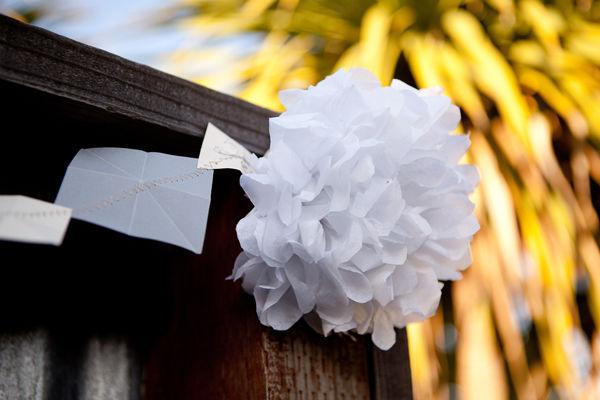 white paper flower wedding decor
