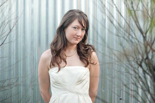 bride wearing bhldn dress