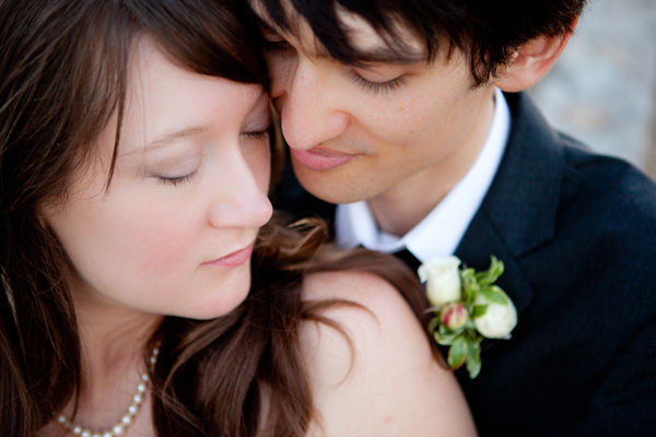 up close bride and groom portrait