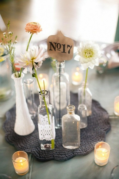 Bottles as wedding decor for Wedding table decorations with wine bottles