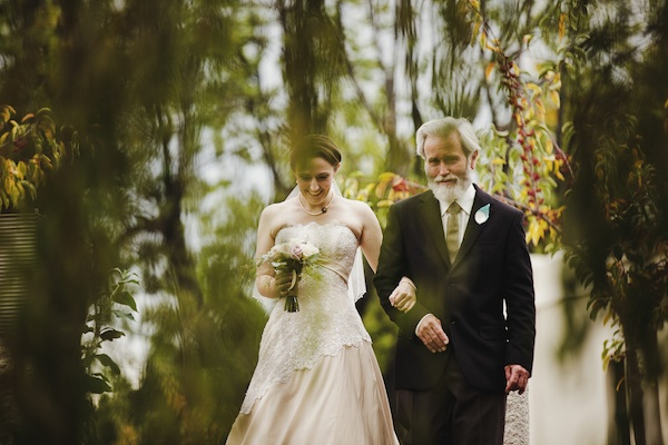 bride walking with her father