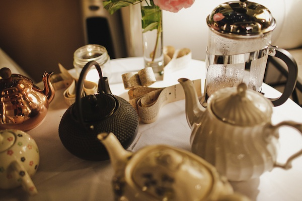 table full of tea pots
