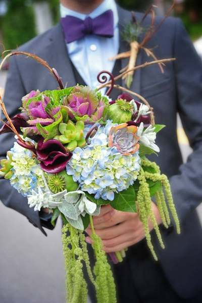 mixed flower wedding bouquet