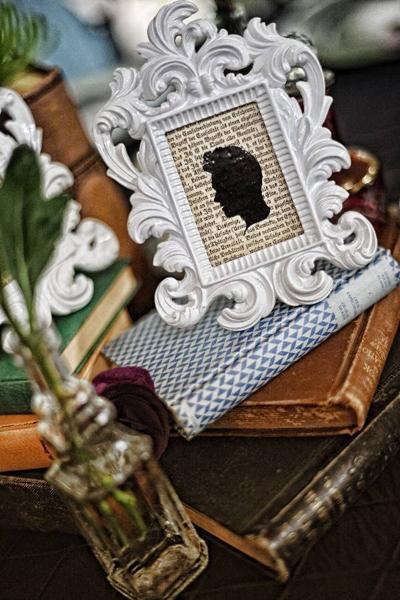 groom silhouette in vintage frame