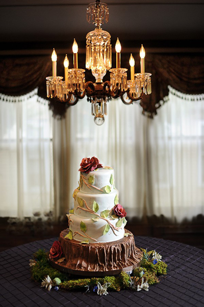 wedding cake under chandelier
