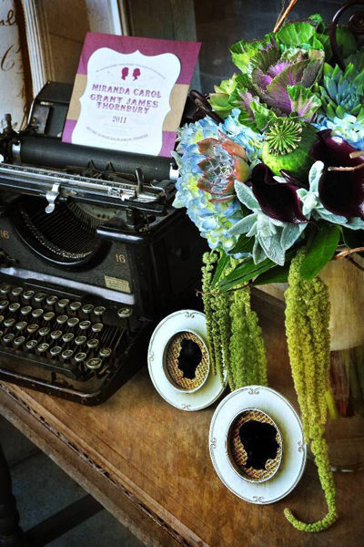 typewriter guestbook table