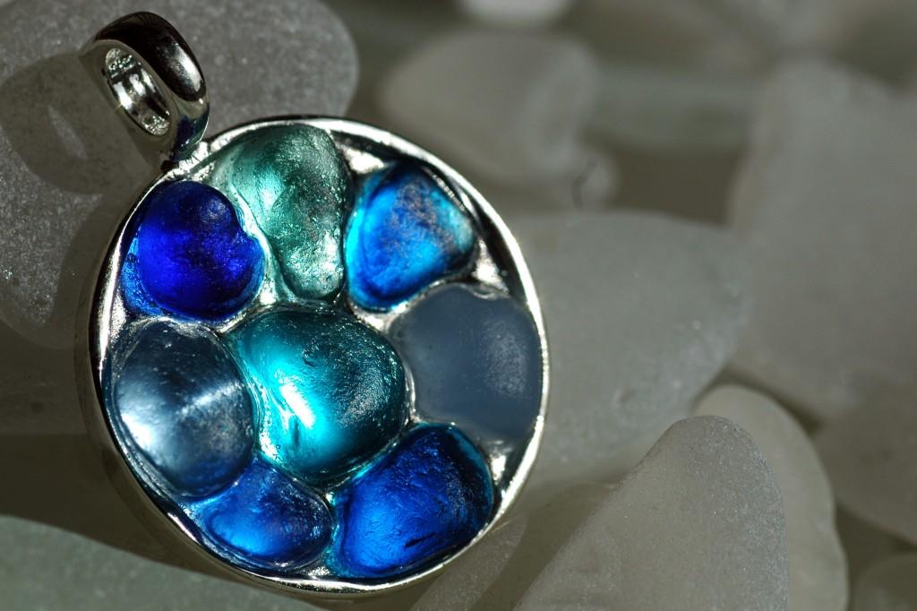 mosaic sea glass blue