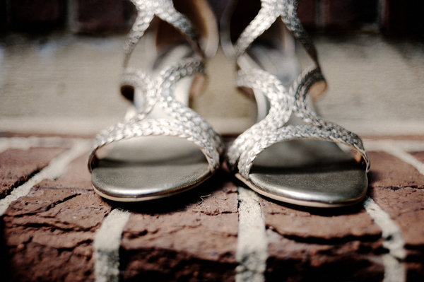 silver strappy wedding shoes