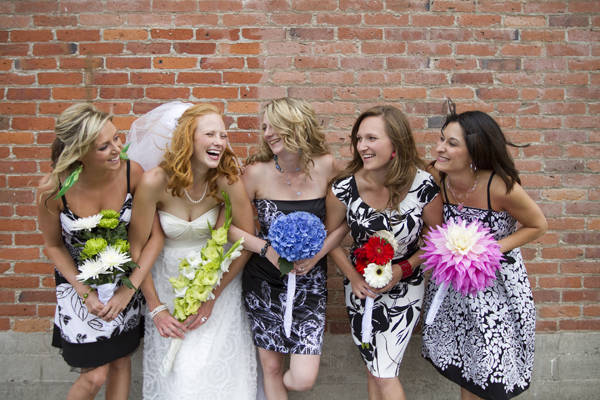 mismatched black and white bridesmaid dresses