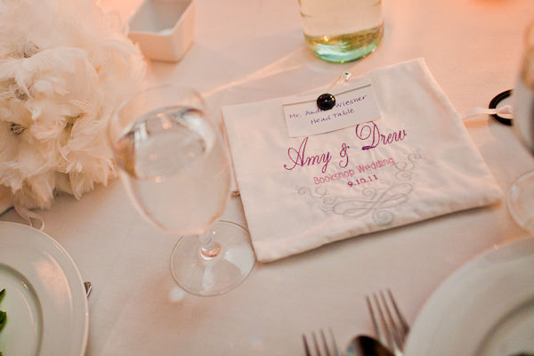 embroidered wedding napkin