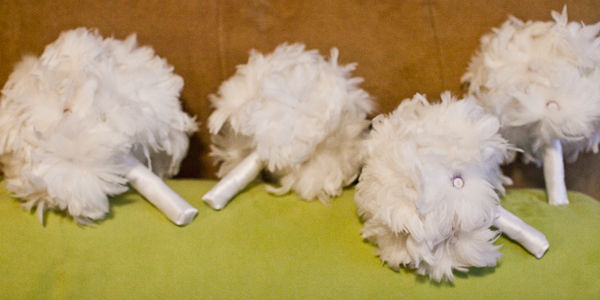 white feather bouquets