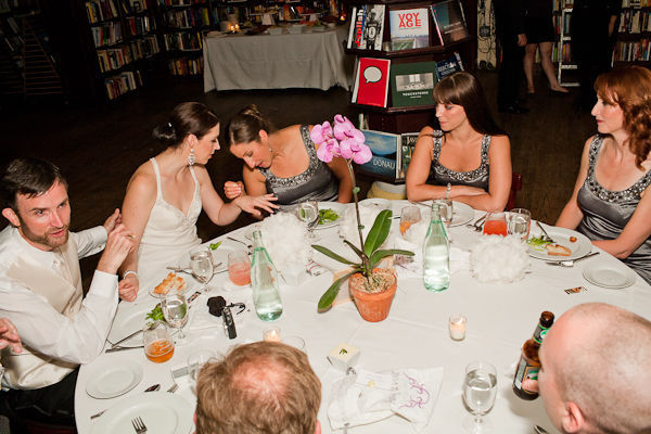 book store wedding reception