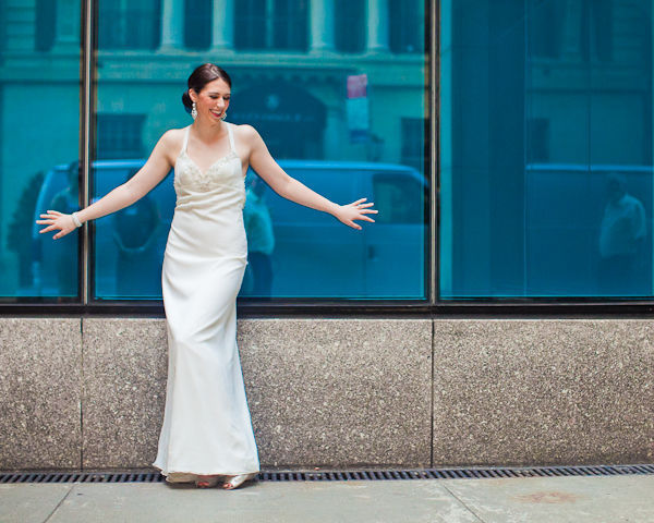 bride posing on the street