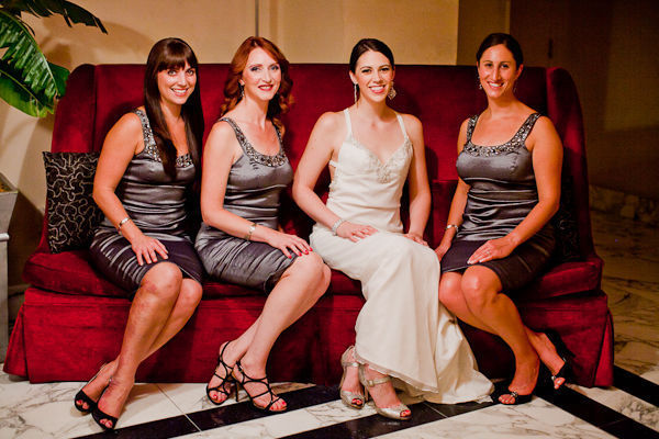 bride with bridesmaids in grey dresses