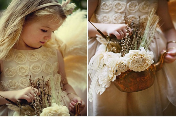 Flower girls don't have to just carry baskets anymore, this idea of using ribbon wands is a fun and Mid-Summer Night reminiscent look turning the flower ...