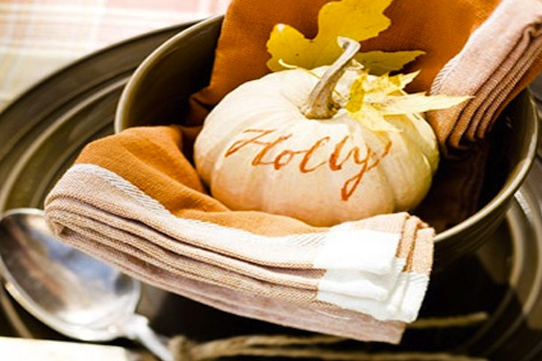 Very small pumpkins are perfect for place cards you can add names