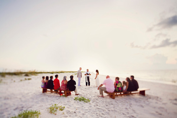 Intimate sunrise wedding on the beach
