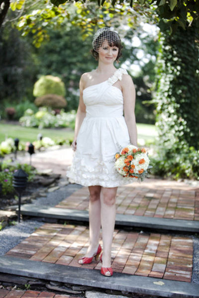 BCBG short one shoulder wedding dress
