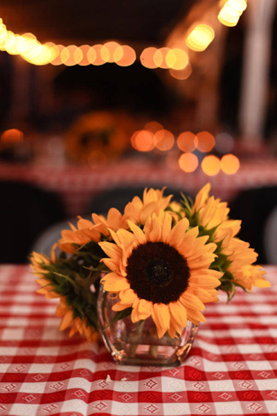 sunflower centerpiece on red checkered tablecloth