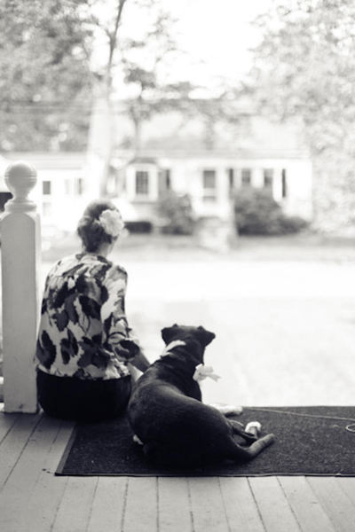 bride sitting with her dog