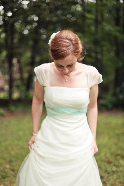 bride in Adele Wechsler gown