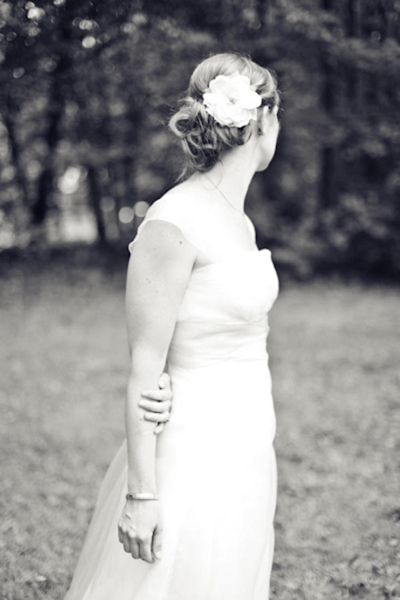 black and white bride in Adele Wechsler gown