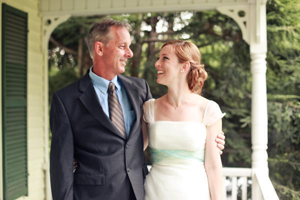 bride and her father on the porch