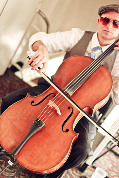cellist playing at wedding ceremony