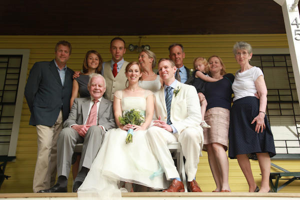 family wedding portrait on the porch